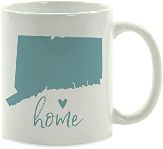 Andaz Press 11oz. US State Coffee Mug Gift, Aqua Home Heart, Connecticut, 1-Pack, Unique Hostess Distance Moving Away Christmas Birthday Gifts for Her