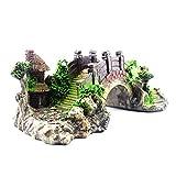 OVBBESS Decoración de pecera para acuario, puente de resina en miniatura, 17 x 9 x 5 cm, para acuarios, peceras, jardines