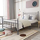 Elegant Home Products Metal Bed Frame Queen Size with Vintage Headboard and Footboard Mattress Foundation,Black