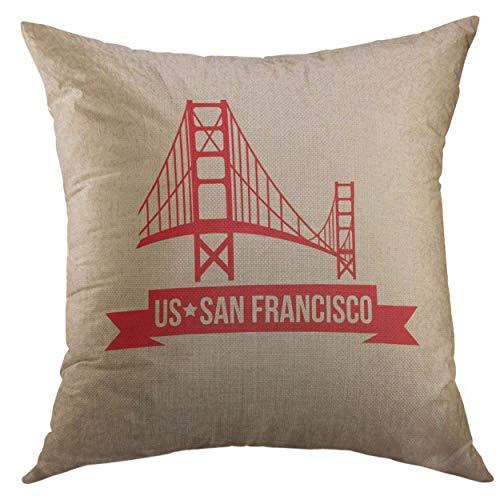 Mr.Q Funky Throw Pillows Case 16 X 16 Inch12.8 Skyline Golden Gate Bridge The Symbol of Us San Francisco Vintage Christmas Day Throw Pillows Teen Room Luxury Soft for Toddler-Girls Children Sofa Car