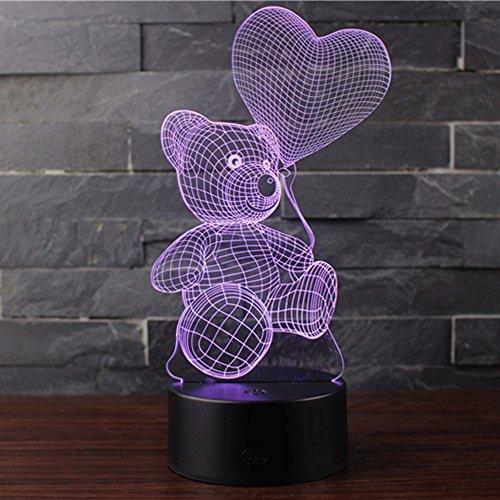 Ray-Velocity 3D Lámpara de Escritorio Mesa 7 Cambiar el Color Botón Táctil de Escritorio Del USB LED Lámpara de Tabla Ligera Decoración Para el Hogar Decoración Día de San Valentín (BALLON AND BEAR)