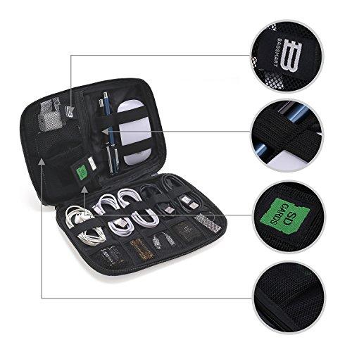 bagsmart Elektronische Tasche, Elektronik Organizer Reise für Handy Ladekabel, Powerbank, USB Sticks, SD Karten (Schwarz)