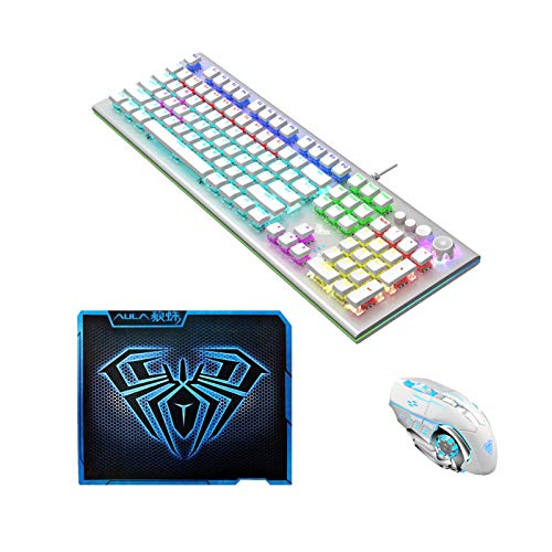 AULA SC100 White Rechargeable Wireless Gaming Mouse + S2096 White True RGB Mechanical Gaming Keyboard Blue Switch 108-keys + Blue Gaming Mouse Pad, PC Games/Office Three-Piece Combo Set