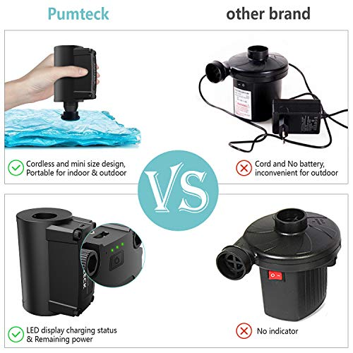 PUMTECK Electric Air Pump, Quick-Fill Electric Rechargeable Inflator for Inflating/Deflating Pool Inflatables, Air Mattress, Exercise Ball, Air Boat (NO Plug-Required)