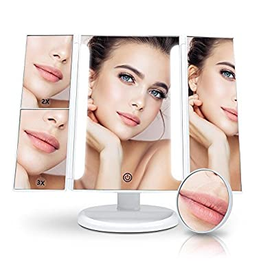 Makeup Vanity Mirror LED Tri-Fold 1 x 2x 3x Magnification Sections Touch Screen Light Control 180° Free Rotation, Portable High-Definition Clarity Cosmetic Light Up Magnifying Mirror White