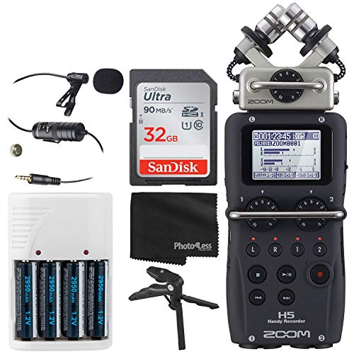 Zoom H5 4-Input / 4-Track Portable Handy Recorder with Interchangeable X/Y Mic Capsule + 32GB Memory Card + Lavalier Condenser Microphone + 4 AA Batteries & Charger + Tabletop Tripod/Handgrip