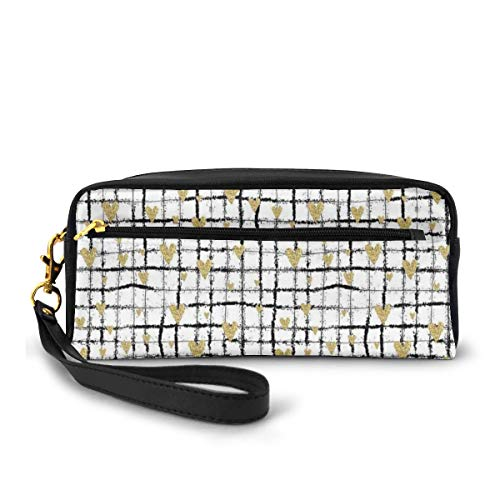 Pencil Case Pen Bag Pouch Stationary,Romantic Pattern of Sprayed Paint of Black Grid with Attached Hearts,Small Makeup Bag Coin Purse