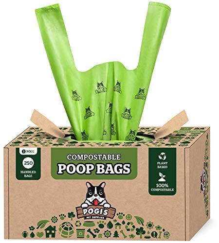 Pogi's Sacs à déjections canines compostables – 250 sacs à déjections canines avec poignées faciles à nouer, anti-fuites, à base de plantes, certifiés ASTM D6400