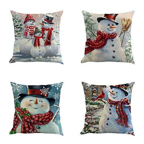 IYHU Sneeuwman Kussenslopen 18X18 Set van 4 Kerstdecoratie Kussensloop voor Slaapbank Vintage Kussensloop
