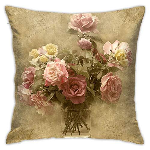Fundas de cojín de algodón y poliéster con diseño de rosas de estilo shabby chic, fundas de cojín para sofá, decoración del hogar, 45,7 x 45,7 cm