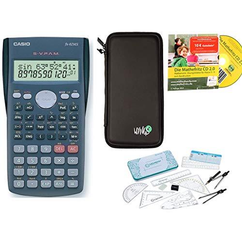 Super Combo: Casio FX-82MS + Funda protectora SafeCase + CD de aprendizaje CALCUSO (en alemán) + Kit de geometría + Garantía extendida 60 meses