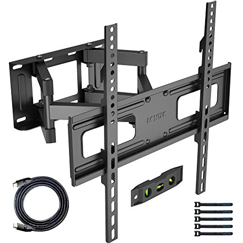 BONTEC Soporte de Pared para TVs Planos & curvos de 23-60 Pulgadas, se extiende la Inclinación Giratoria, Doble Brazo y Movimiento Completo, Incluye Cable HDMI, Nivel topográfico, 5 Correas de Velcro