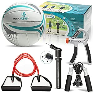 5-in-1 Volleyball Fitness Kit for Outdoor, Beach, Backyard Games, Training, Workout, Home Exercise for Women, Men, Youth - Set of Hand Grip Strengthener, Jump Rope, Resistance Band, Pump, 1 Needle
