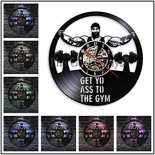 TYFEI Mein Leben Meine Regeln Inspirierende Schallplatte Wanduhr Fitness Muscle Man Bodybuilder Gewichtheben Wandkunst