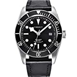 Men Watch, Japanese Automatic Movement Mechanical Watch with Date, Leather Strap