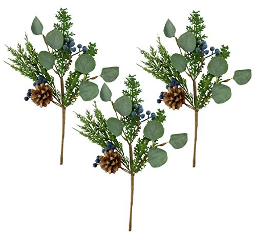 AuldHome Blue Berry Greenery Picks (Set of 3, 16-Inch); Juniper Tree Floral Picks for Christmas and Seasonal Decor
