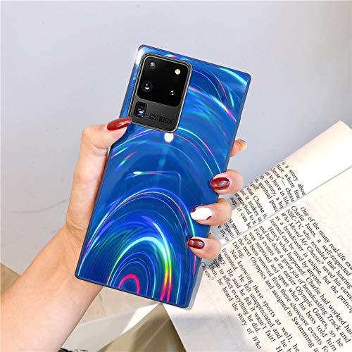Herbests Kompatibel mit Samsung Galaxy S20 Ultra Hülle Glitzer Glänzend Kristall Aurora Bunte Weich Silikon Handyhülle Ultra dünn Schutzhülle TPU Bumper Handytasche Crystal Case Cover,Blau