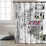 Aishare Store - Cortinas de ducha para baño, parisina, cafetería adoquinada, 12 ganchos para duchas de baño, 72 x 72 pulgadas