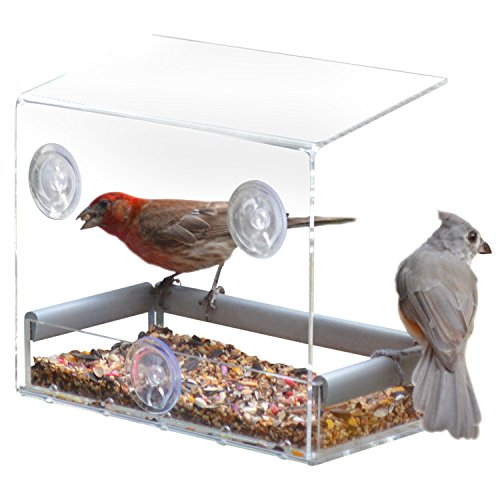 PetFusion Tranquility Window Bird Feeder in Premium Lucite Acrylic. (I) Removable Tray, (II) 3...