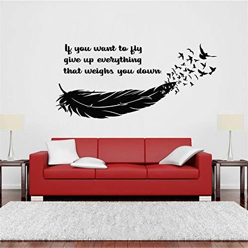 Muurdecoratie Stickers voor woonkamer Veer Vliegende Vogels Als u wilt Quote Decor Home Room Decor interieur vliegen 31.2x15.6 inch