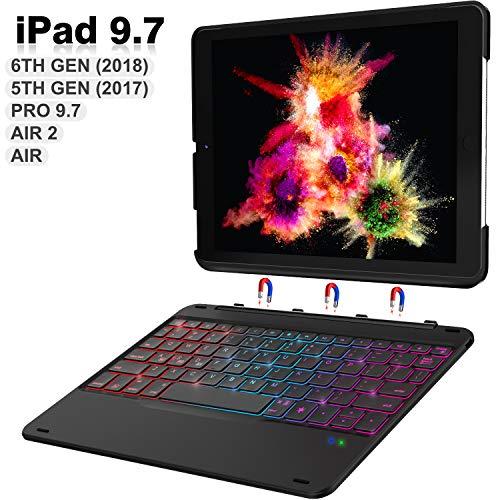 iPad Keyboard Case 9.7 for iPad 2018 (6th Gen) - iPad 2017 (5th Gen) - iPad Pro 9.7 - iPad Air 2 & 1 - Hundreds of DIY/7 Colors Backlight - Detachable Wireless Keyboard - Auto Sleep/Wake, Black