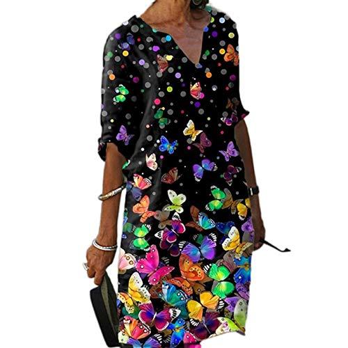 EVENWONG Hemdkleid Für Frauen, Damen Sommer V-Ausschnitt Minikleider Halbarm Minikleider Casual Tunika Kleid (H,M)
