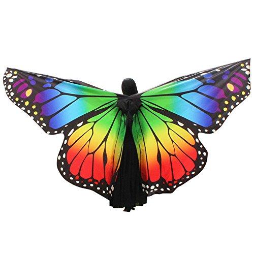 PAOLIAN Costume Farfalla Donna per Carnevale, Donna novità Attraente Farfalla Ali Grande Arcobaleno Colore Accessori Fata Scialle Partito Sciarpa Elfo Fata Farfalla Costume Impermeabile