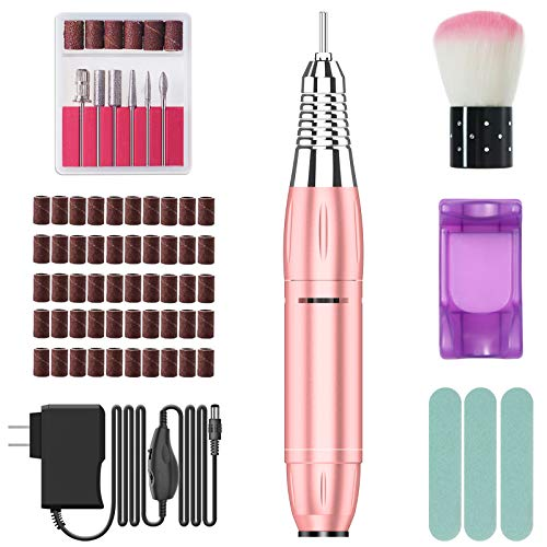By-Heart 30000RPM Electric Nail Drill Machine, Portable Professional Nail Drill Kit for Acrylic Nails, UL Adapter, Polishing Nail Tools for Women Home and Salon Use, Rose Gold