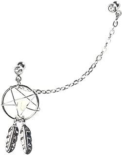 BODYA Silver Cute Dream catcher Handcuff Feather Dangle ear cuff Barbell Cartilage earrings Chain stone