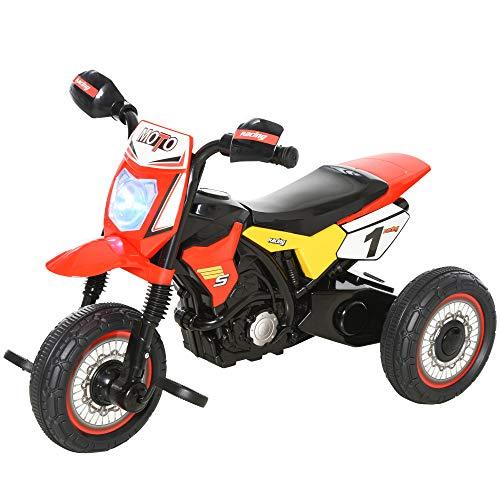 HOMCOM Moto Correpasillos Infantil para Niños de +18 Meses con Apariencia de Moto de Montaña con 3 Ruedas con Luces y Sonido Pedales Diseño Único 71x40x51 cm Rojo