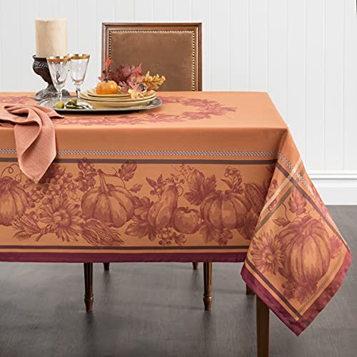 Benson Mills Harvest Royalty Engineered Yarn Dyed Jacquard Tablecloth, 60 by 104-Inch