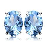 JewelryPalace Pendientes 1.9ct Genuino Topacio azul cielo Oval Natural Piedra de nacimiento Aretes...