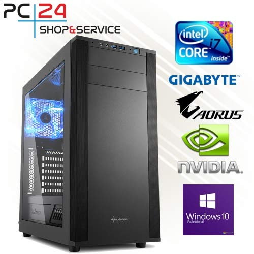 PC24 Shop & Service - Ordenador de sobremesa para videojuegos Intel i7-3770K (núcleo cuádruple de 4,00GHz, Ivy Bridge, nVidia GF GTX 680 con memoria RAM GDDR5 de 2048 MB, DX11.1, memoria RAM PC1600 DDR3 de 16 GB, G.Skill, interfaz Seagate SATA/600 de 1000 GB, placa base de 1 GB GA-Z77X-UD3H, base 1155, grabadora de DVD 24x LG, 600 W, fuente de alimentación Silverstone 80+ Power ATX, PC para jugar i7) i5-4670 K con GTX 770 2 GB