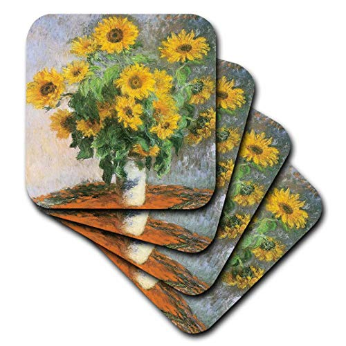 3dRose CST_126590_1 Sunflowers by Claude Monet, 1881 Impressionist Still Life Painting Soft Coasters, (Set