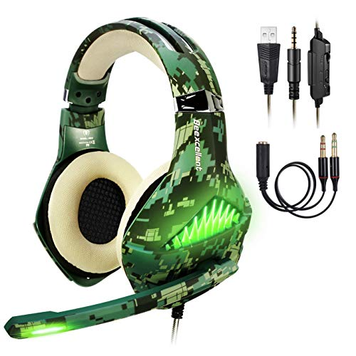 Cuffie Gaming per PS4 Xbox One PC Switch, Stereo Gaming Headset,Cuffie da Gioco, Samoleus 3.5mm Jack Cuffie Gamer con Microfono, Luci LED, Noise Cance