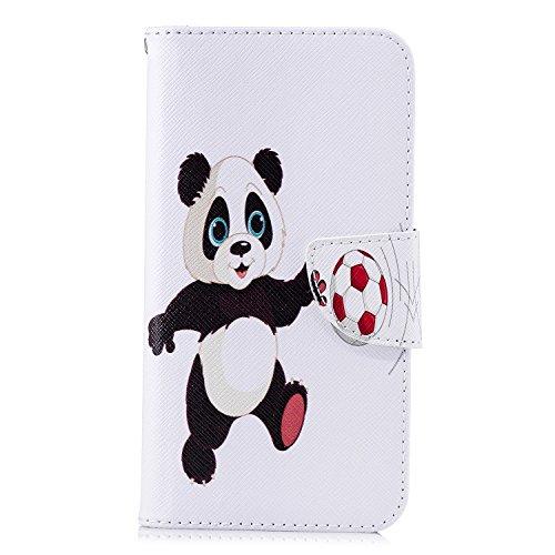 xifanzi PU Lederhülle für Xiaomi Redmi Mi 6A Schutzhülle Flip Handytasche Brieftasche Hülle Book Style Hülle Etui Standfunktion Handyhülle Fußball Panda Tasche für Xiaomi Redmi Mi 6A/Redmi Mi 6