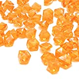 DomeStar Orange Fake Crushed Ice Rocks, 150 PCS Fake Diamonds Plastic Ice Cubes Acrylic Clear Ice Rock Diamond Crystals Fake Ice Cubes Gems for Home Decoration Wedding Display Vase Fillers