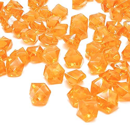 DomeStar Orange Fake Crushed Ice Rocks, 150 PCS Fake Diamonds Plastic Ice Cubes Acrylic Clear Ice Rock Diamond Crystals Fake Ice Cubes Gems for Home Decoration Wedding Display Vase Fillers