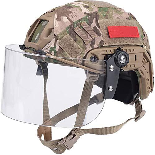 WLXW Casco PJ Type Fast Airsoft con Visera Y Cubierta de Casco, Casco Militar Army SWAT con Gafas Y Montura NVG/Rieles Laterales para Juego de Paintball CS,CP,S(52/60CM)