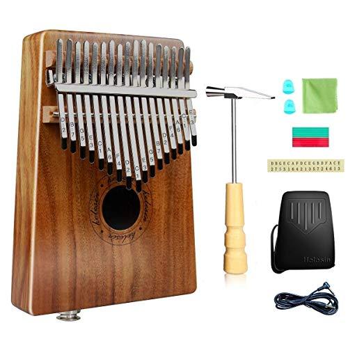 Kalimba 17 Schlüssel, Daumenklavier Kalimba Thumb Piano Finger Solide Kalimba Instrument Integriertem Tonabnehmer mit Audio-Schnittstelle mit Wasserdichte Schutzbox (KOA)…