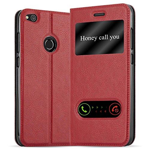 Cadorabo Funda Libro para Huawei P8 Lite 2017 en Rojo AZRAFÁN - Cubierta Proteccíon con Cierre Magnético, Función de Suporte y 2 Ventanas- Etui Case Cover Carcasa