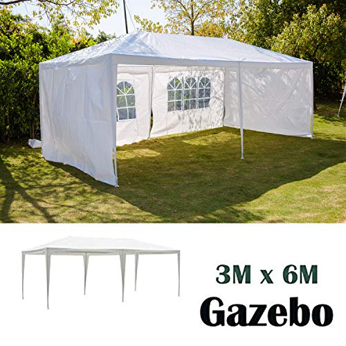 AutoBaBa 3x6m Garden Gazebo Marquee Tent with Side Panels, Fully Waterproof, Powder Coated Steel Frame for Outdoor Wedding Garden Party, White