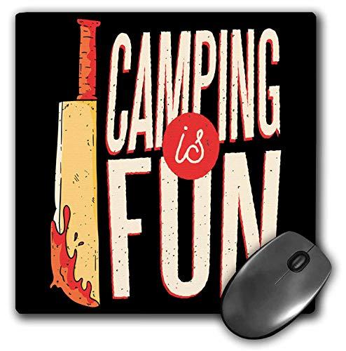 3dRose Sven Herkenrath Funny - Camping is Fun Hiking Fun Adventure with Knife - Mousepad (mp_320734_1)