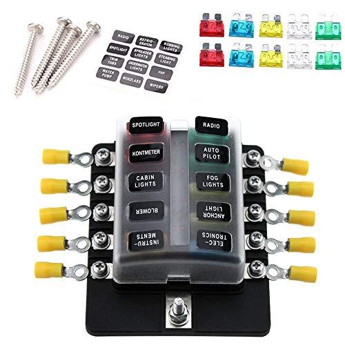 KANJJ-YU - Lote de 10 herramientas para fusibles, portafusibles con fusibles de indicador LED rojo, 10 terminales para coche, barco, caravana, camión, 12 V, 24 V, hoja de diamante