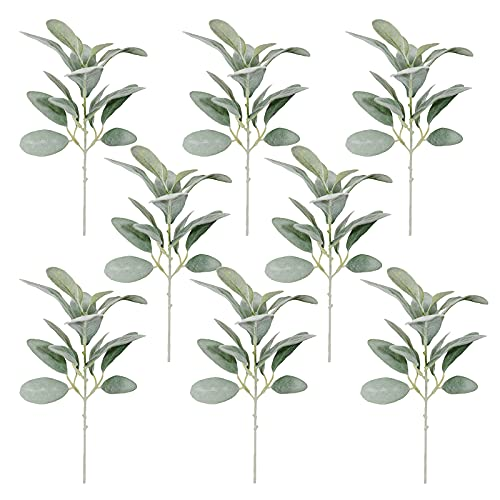 FXforer 8 Pcs Artificial Flocked Rabbit Ear Spray Leaf Stems,14.6 Inch Faux Lambs Ear Stems Foliage,Fake Greenery Branch for Floral Arrangement DIY Craft Home Vase,Frost White