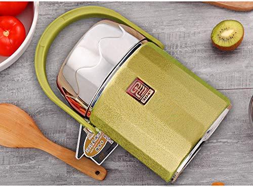 Thermos Portapappa System Easy Meal,Botte per isolamento giornaliero Bento, vaso per isolamento sottovuoto in acciaio inossidabile, pallone portatile@green_1.6l,Contenitore Acciaio Inossidabile