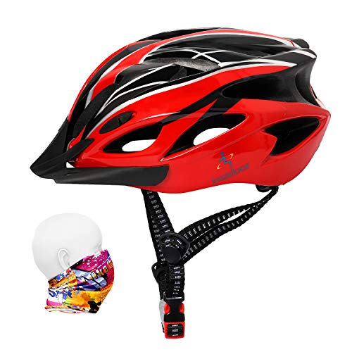 Bike Helmet 56-64CM with Visor,Sport Headwear,18 Vents,Cycling Bicycle Helmets Adjustable Lightweight Large Adults Mens Womens Ladies for BMX Skateboard MTB Mountain Road Bike Safety(Red&Black)
