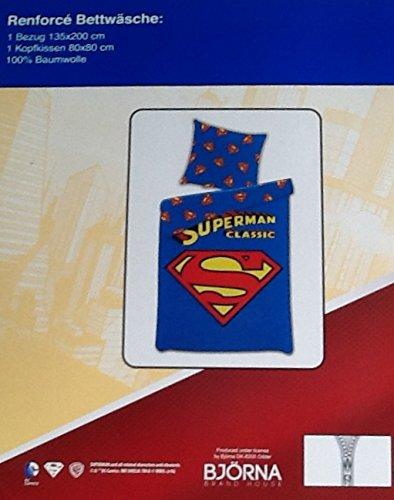 Superman Renforcé-Bettwäsche, Wendebettwäsche, 1 x Kissenbezug 80 x 80 cm und 1 x Bettbezug 135 x 200 cm, 100 {d1eaee2d00c6510c5f360f73b53699f180b238be3d5fac5d4c0c2ce1e7ea3aa8} Baumwolle mit Reißverschluss