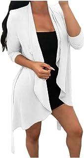 Macondoo Women Slim Cardigan Coat Trench Coat Open Front Jackets