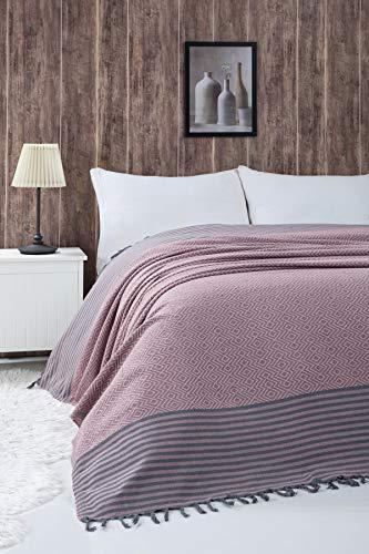 Belle Living Atil Couvre-lit de qualité supérieure, idéal pour le lit et le canapé, 100% coton, avec des franges faites à la main, 200 x 250cm